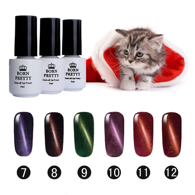 BORN PRETTY Magnetic Cat Eye Gel 6 Bottles 5Ml Soak Off Led UV Gel Nail Polish Magnetic Gel Lacquer 7-12 No Black Base Needed