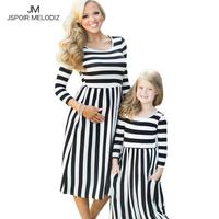 Family Matching Outfits Mom And Daughter Long Dress Family Style Black And White Stripes Dress Summer