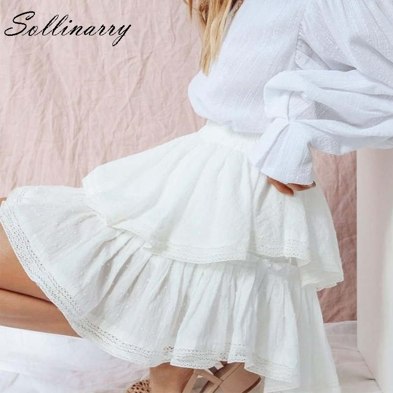 Sollinarry White Summer Party Skirt Ruffle Women Polka Dot Casual Fashion Mini Skirt Sexy Girl Elastic Holiday Boho Short Skirts