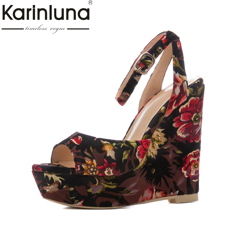 Karinluna 2018 Large Size 34-41 Wedge High Heels Women Pumps Woman Buckle Strap Peep Toe Platform Shoes Woman Wrapped Pumps цена