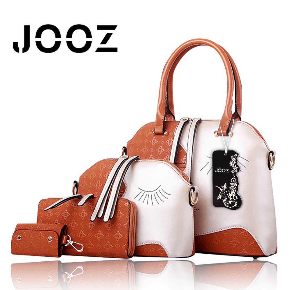 JOOZ Brand Face PU Leather Women Handbag 4 Pcs Composite Bags Set Vintage Lady Messenger Shoulder Crossbody Bag Coin Purse Tote jooz brand luxury belts solid pu leather women handbag 3 pcs composite bags set female shoulder crossbody bag lady purse clutch