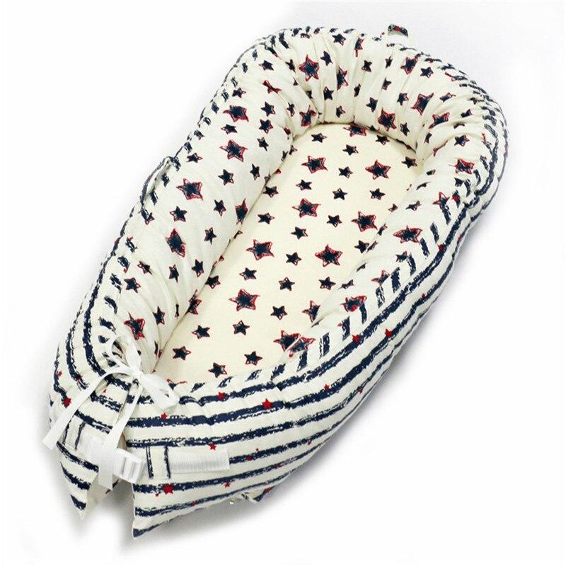 80*50 см детское гнездо кровать портативная кроватка дорожная кровать Младенческая Детская Хлопковая Колыбель для новорожденного Детская кровать люлька бампер - Цвет: BabyNest-C8
