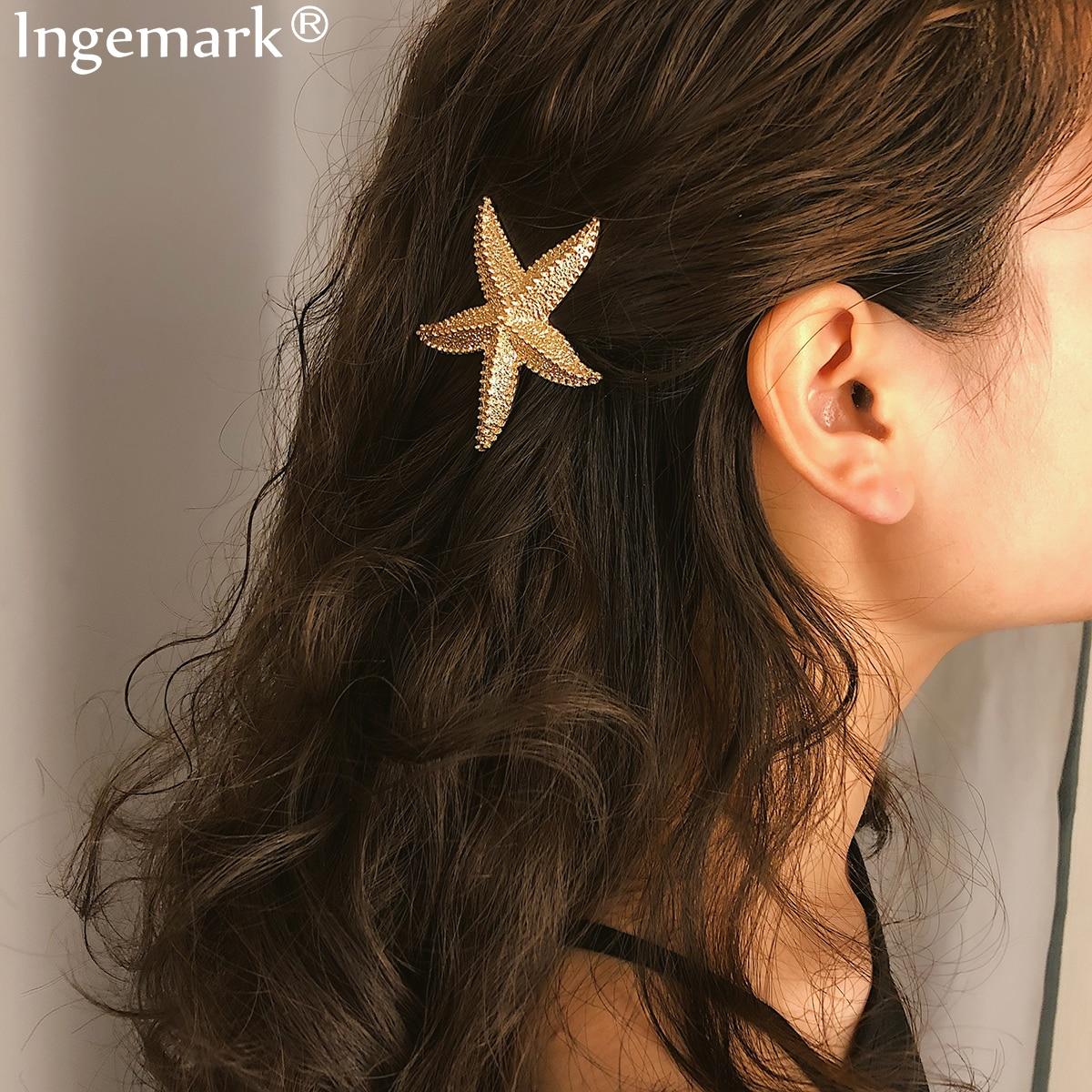 Fashion Women Alloy Starfish Barrette Hair Clip Stick Hairpin Hair Accessories