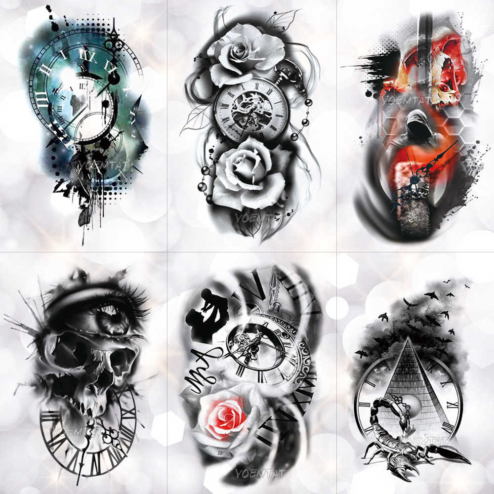 048602a05c2a8 Family Rose Time clock Skull Temporary Tattoo Sticker Scorpion Tower Waterproof  Tattoos Body Art Arm Fake
