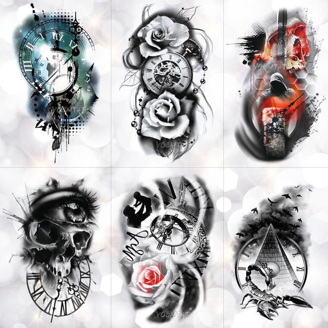 Family Rose Time Clock Skull Temporary Tattoo Sticker Scorpion Tower