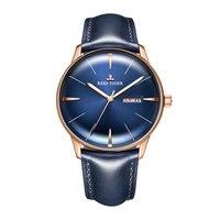 Reef Tiger/RT Роскошные мужские часы из натуральной кожи на ремешке синие часы автоматические механические часы водонепроницаемые с датой часы