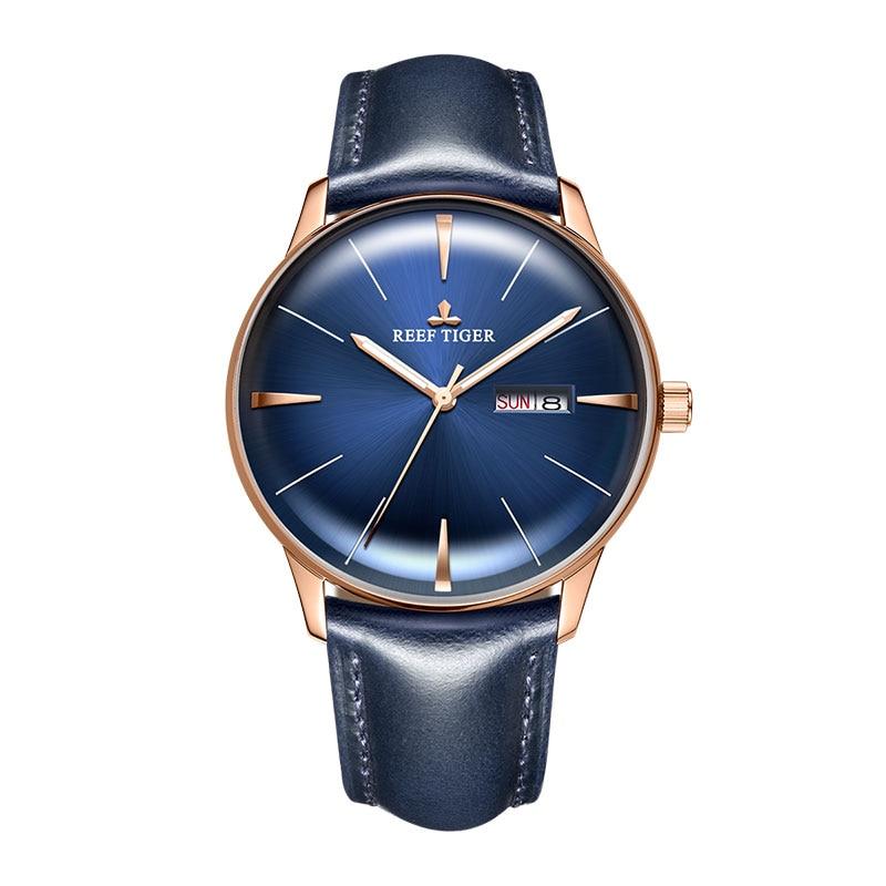 Reef Tiger/RT ekskluzywna sukienka zegarek mężczyźni prawdziwy skórzany pasek niebieski zegarek automatyczny zegarek zegarki mechaniczne wodoodporny zegarek z datownikiem RGA8238 w Zegarki mechaniczne od Zegarki na  Grupa 1