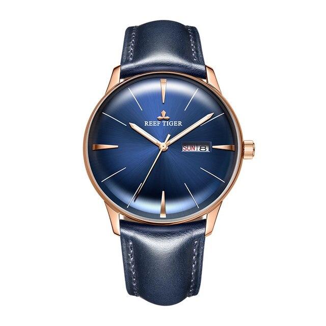 Reef Tiger/RT יוקרה שמלת שעון גברים אמיתי עור רצועת כחול שעון אוטומטי מכאני שעונים עמיד למים תאריך שעון RGA8238