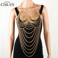 CHRAN Sexy Women Multi Layer Metal Bra Chain Harness Jewelry Summer Beach Gold Color Mesh Belly