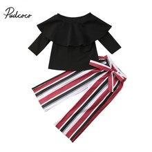 Новинка года; брендовые топы с открытыми плечами для маленьких девочек; блузка; рубашка длинные штаны в полоску одежда с короткими рукавами; От 1 до 6 лет