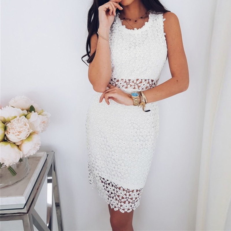 2018 Hot Sale Women Summer Casual White Lace Hollow Out Sleeveless Tank Mini Dress Summer Dress For Ladies Skinny Dress For Lady
