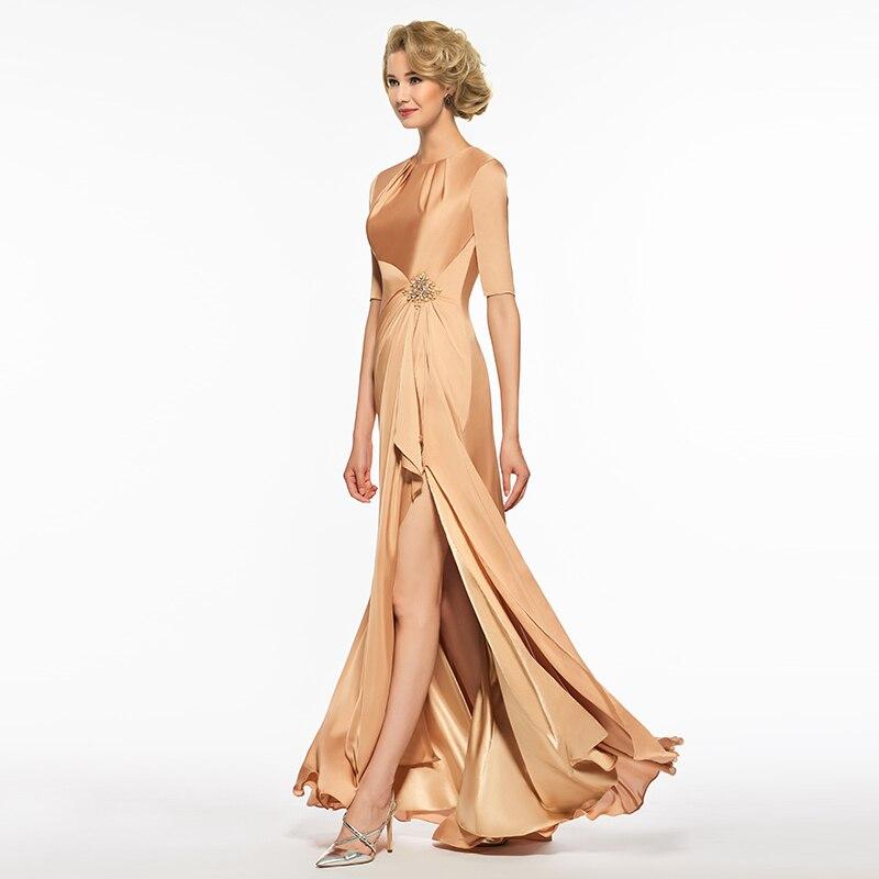 Dressv scoop neck mermaid mother of bride dress half sleeves floor length zipper up trumpet long mother evening gown custom