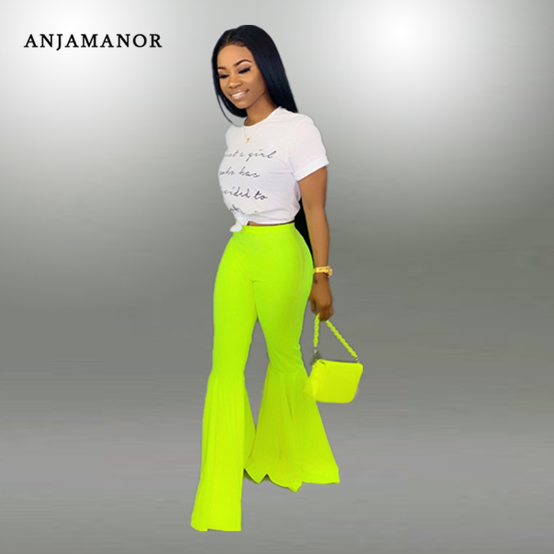ANJAMANOR Neon Green Flare Pants Women 2019 Summer Fashion Sexy Ruffles High Waist Bell Bottom Pants Casual Wide Leg Trousers