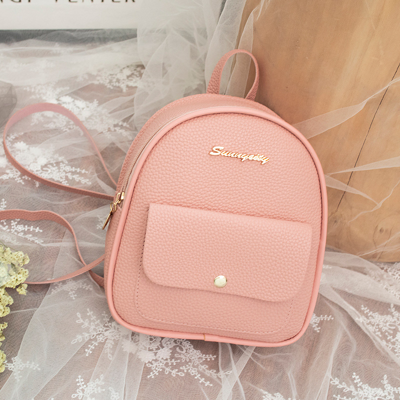 Miyahouse Litchi Pattern Women Backpack Mini Travel Rucksack For Female Small PU Leather School Backpack For Fashion Teeange Gir