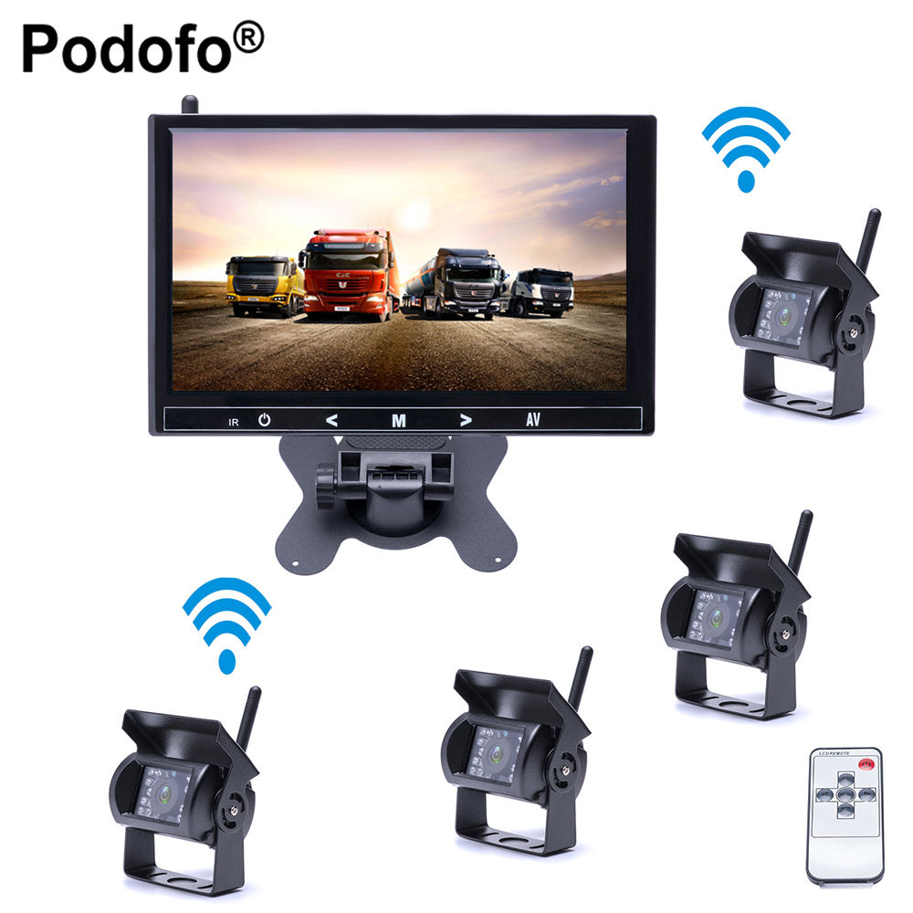 Podofo Wireless 4 Car Backup Cameras Waterproof 18 IR Night Vision , 9 Inch HD Monitor Rear View Monitor for Truck /Trailer/RV podofo wireless truck vehicle car rear view backup camera 7 hd monitor ir night vision parking assistance waterproof for rv rc