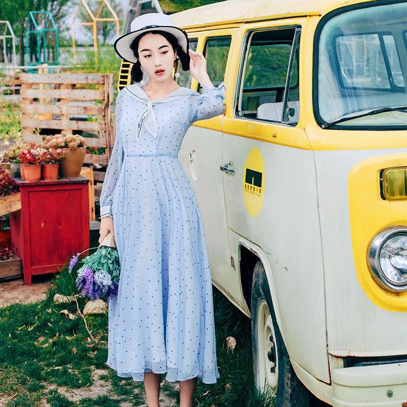 2018 الربيع الصيف النساء فساتين خمر الرجعية نقطة طويلة الأكمام سوينغ تنحنح ميدي الشيفون اللباس الأنيق Vestidos-في فساتين من ملابس نسائية على  مجموعة 1