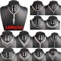 Мода 16 Стили Сверкающих Пром Свадебные Ювелирные Изделия Кристалл Горного Хрусталя Ожерелье Серьги Ювелирные Наборы