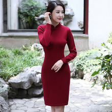 Solid Color Chinese Traditional Women Wool Qipao Vintage Button Sexy Short Dresses Spring Autumn New Sheath Cheongsam M-XXL
