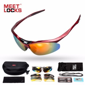 MEETLOCKS Bike Sunglasses Polarized Cycling Glasses Adjustable Rope and 5 Lenses Eyewear Fishing gafas de sol hombre