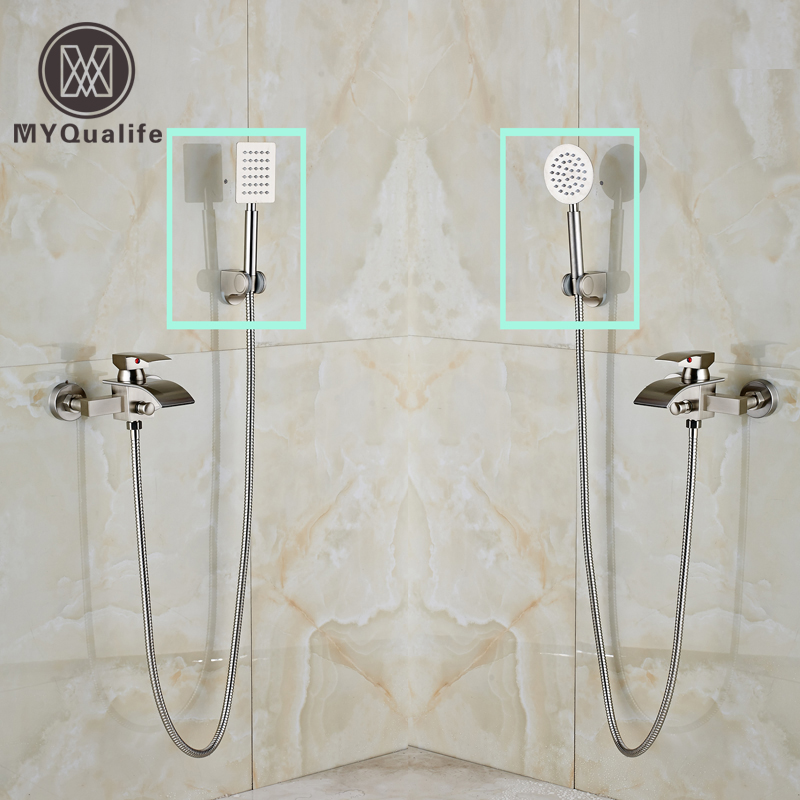 Luxury Wall Mounted Bathroom Brushed Nickel Shower Faucet Single Handle Waterfall with Handshower Tub Mixer Taps nickel brushed waterfall tub spout bath shower mixer faucet wall mounted single handle bathroom shower faucet with handshower