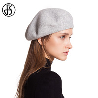 FS Women Beret Hats Autumn Winter Wool Knitted Berets Pashm Knit Beanie Solid Color Baggy Caps