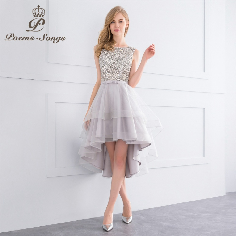 PoemsSongs 2018 New high quality short   Evening     Dresses   Bling Bling style Bride   dress   A-Line   dress     evening   gown