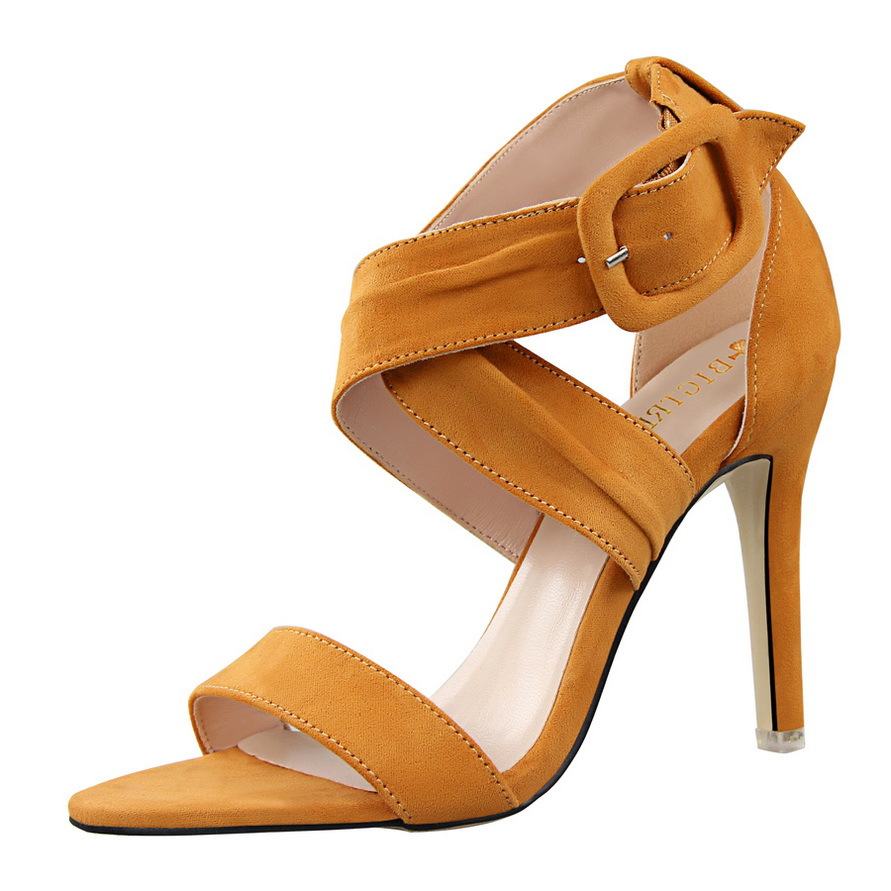 Women High Heels Pumps Summer Peep Toe Woman Office Shoes Female Suede Cross Belt Buckle High