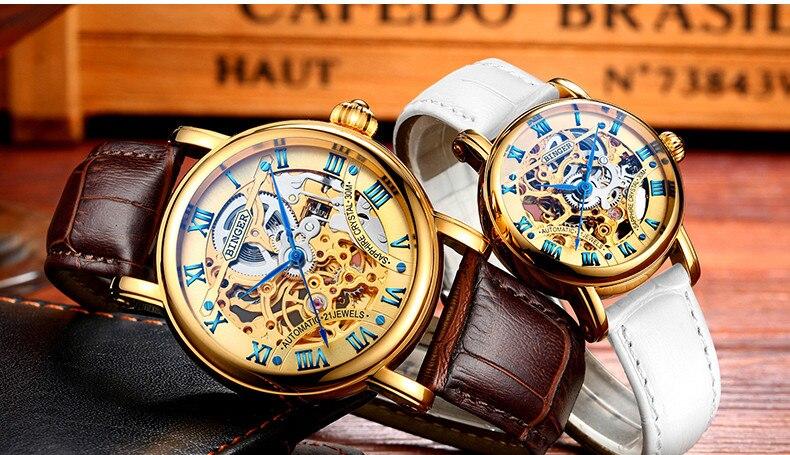 Luxo Sapphire Relógio Mecânico Mulheres Relógio de