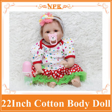 New NPK 22inch Silicone Reborn Bebe Doll With Soft Cotton Body Cute Alive Newborn Baby Boneca Toys For Girls Nice Gift For Child