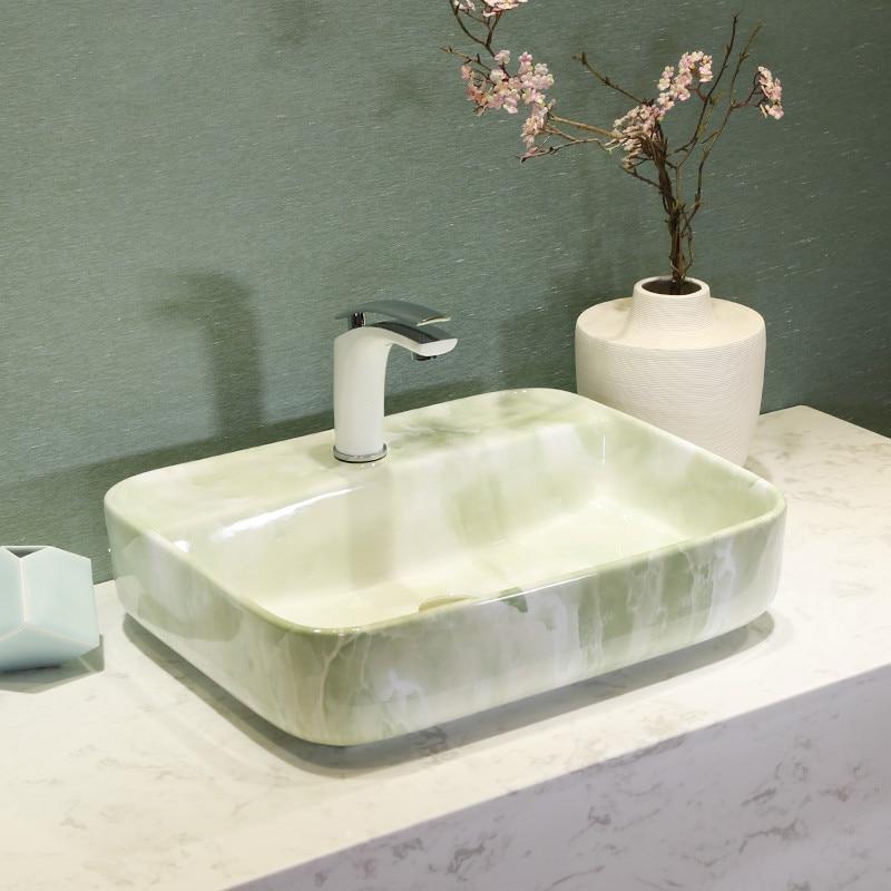 Us 378 0 Modern Green Marble Face Basin China Handmade Art Lavobo Lavatory Rectangular Ceramic Wash Bathroom Sink In Sinks From Home