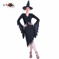 Halloween Costumes For Women Witch Dress Costume Long Sleeve V Neck Ladies Irregular Black Dress Adult Devil Costumes 2017