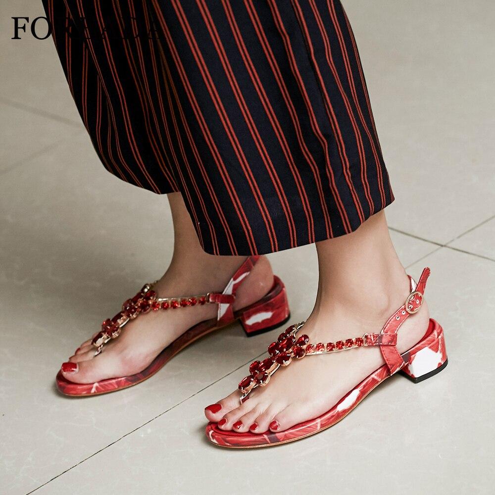 FOREADA été sandales femmes chaussures en cuir véritable naturel cristal chaussures à talons épais fleur tongs sandales boucle rouge taille 39