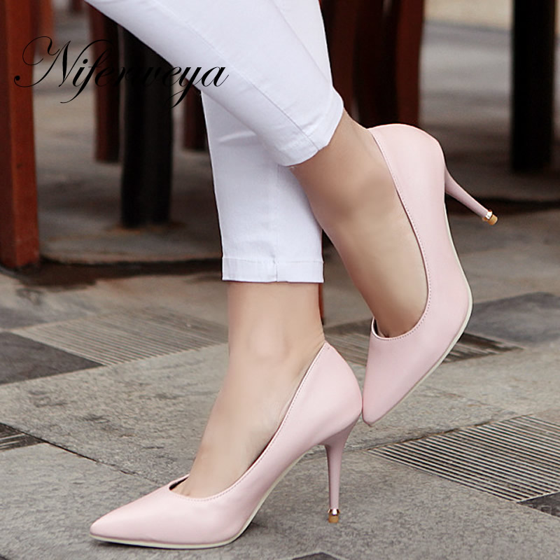 2016 New Spring/autumn <font><b>women</b></font> party shoes big <font><b>size</b></font> 32-47 pink ladies pumps sexy Pointed Toe wedding High <font><b>heels</b></font> zapatos mujer 8-<font><b>18</b></font> image