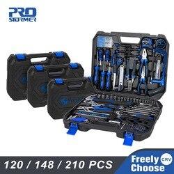 Prostormer conjunto de ferramentas manuais 120/148/210 pçs combinação do agregado familiar caixa ferramentas chave soquete chave chave fenda faca com armazenamento plástico caso