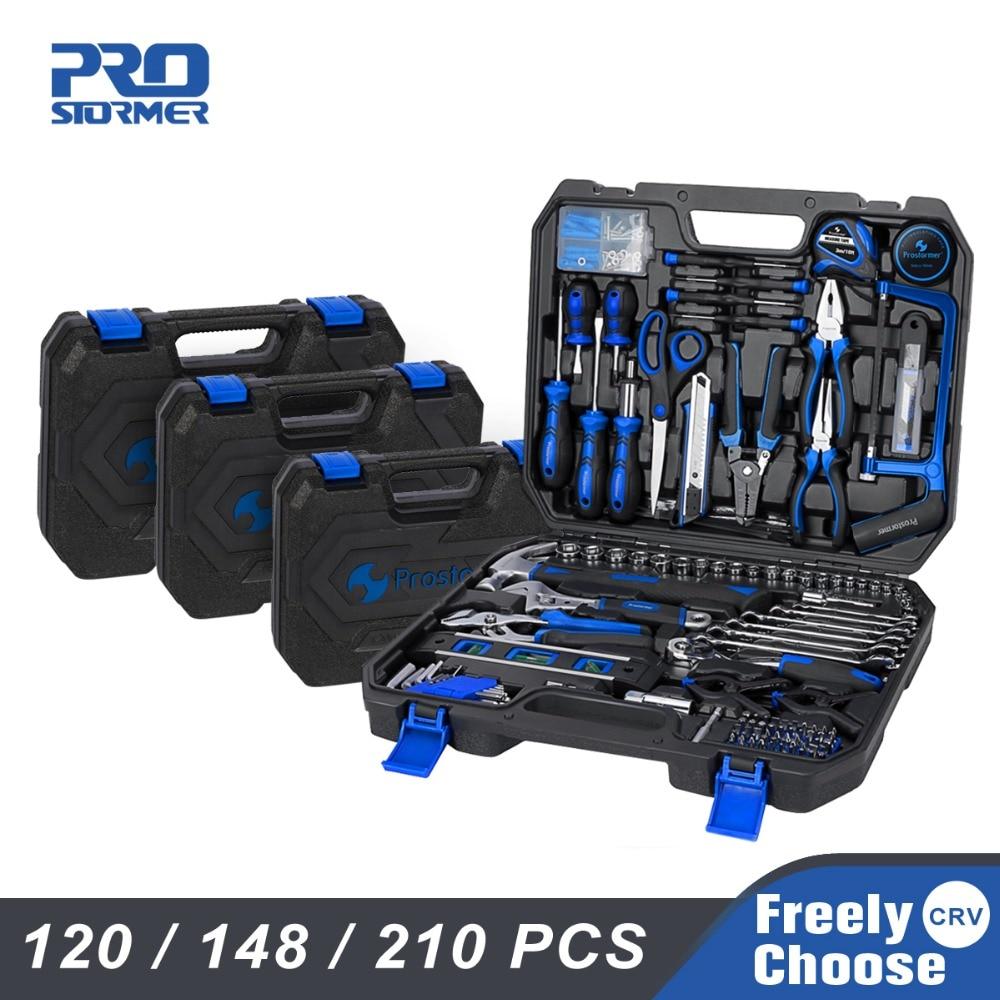 Prostormer ensemble d'outils à main 120/148/210 pièces ménage combinaison boîte à outils clé à douille tournevis couteau avec mallette de rangement en plastique
