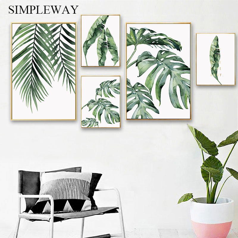Watercolor Plant Leaf Canvas Poster Nordic Wall Art Print Painting Scandinavian Decoration Picture Home