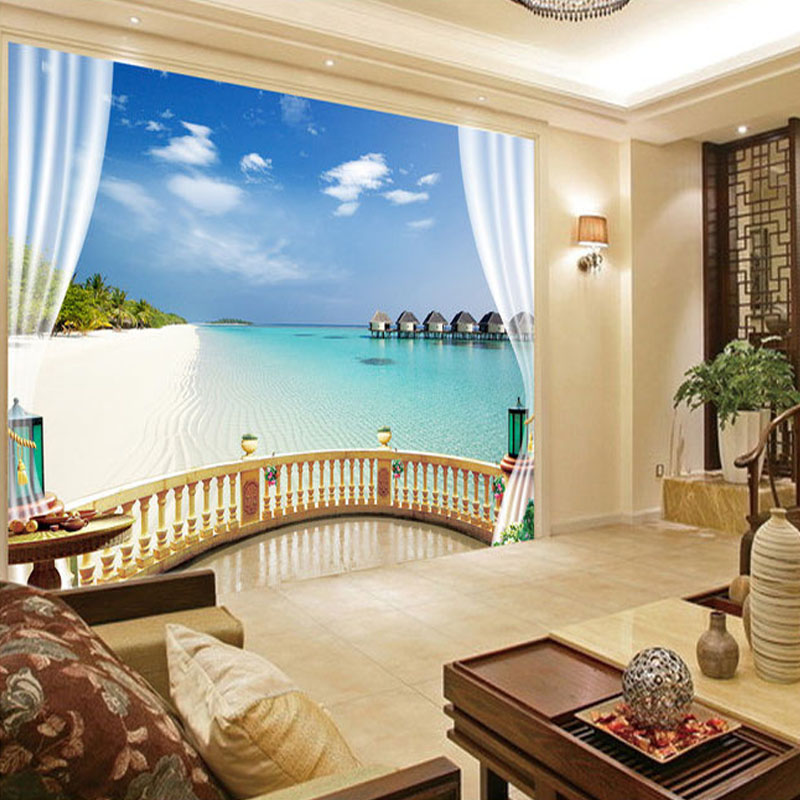 Custom 3D Photo Wallpaper Modern Art Home Decor Wallpapers Big Space 3D Sea View Outside Window Wallpaper Mural For Living Room custom european style wallpapers little angel fresco wallpaper for walls 3d hotel greek mythology mural western photo wallpapers
