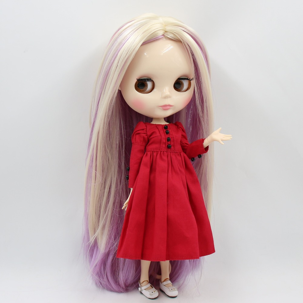 factory blyth doll 1 6 bjd joint body white skin blonde and pink and purple hair