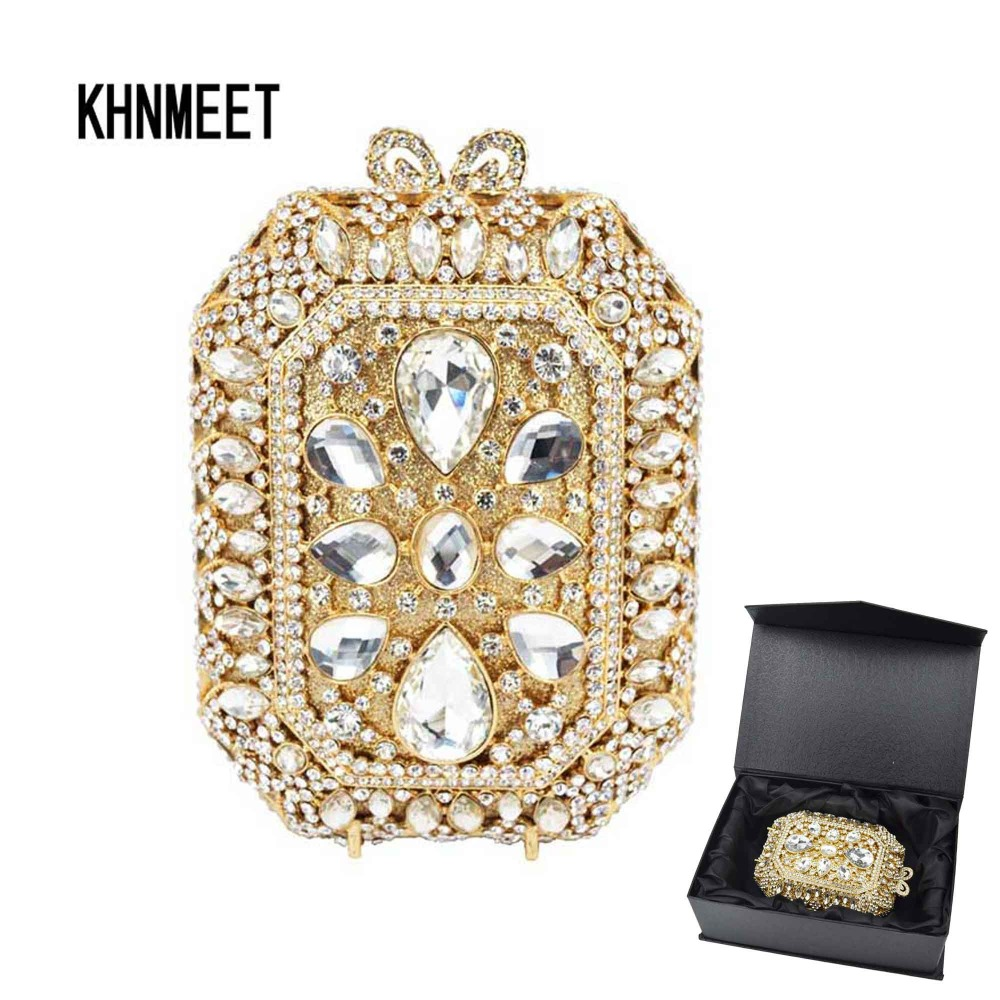 NEW LADIES FASHION HARD CASE GOLD RING HANDLE METALLIC DIAMANTE CLUTCH BAG
