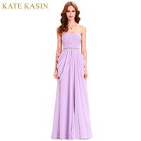 Kate Kasin Purple Bridesmaid Dresses Long Strapless 2016 Floor Length Chiffon Cheap Party Dress Wedding Bridesmaid