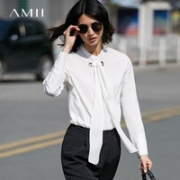 Amii Casual Women Blouse 2017 Solid Bow O Neck Long Sleeve Blouses
