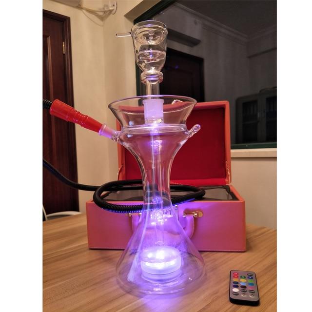 58c93f43475ef كوكتيل led زجاج الشيشة الشيشة بخار الشيشة الكأس الجلود قفل حقيبة المياه  واقية أدى ضوء و