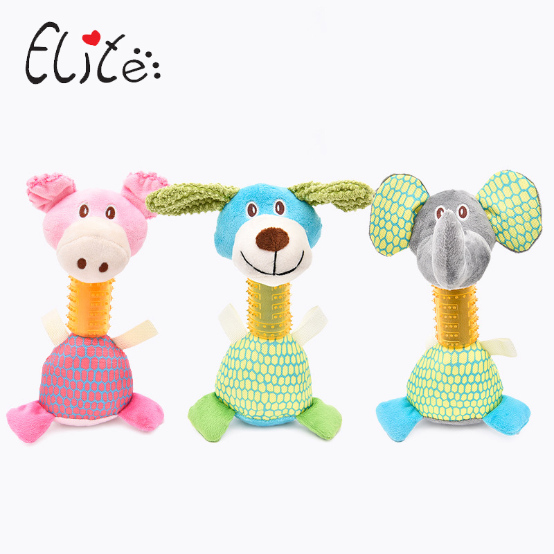 Elite Puppy Dog Toy Sound Squeaker Chewing Toys Stuffed Animals Elephant Pig For Dog Cats Resistance To Bite Pets Supplies