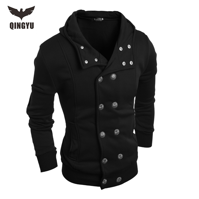 Hot 2016 New Arrival Gary Cotton Mens Winter Hoodies Villus Male Sweatshirts High Quality Askew Button Hooded Brands Men's Coats