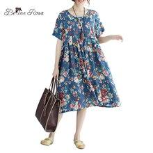 Belinerosa 2017 Для женщин с цветочным принтом платье японский Стиль элегантный по колено Свободное платье для Для женщин tyw00478