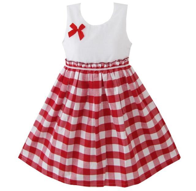 9dfedb6ac Sunny Fashion ملابس أطفال بنات أحمر الطرطان قماش صوفي مقلم فستان الشمس  أطفال ملابس