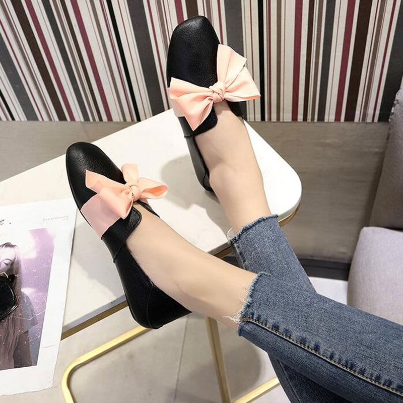 Tangnest Chic Square Toe Women Ballet Flats Sweet Pink Bowtie Flat Shoes Female Autumn Casual Shoes Pu Leather Loafers XWD7022