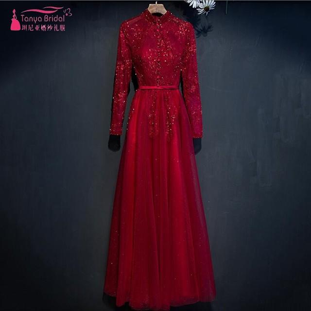 Mangas longas de Renda Tule Vermelho Vestido de Noite 2017 Gola Alta completa Mangas Vestido Formal Vestido de Noite robe de soirée Árabe Real fotos