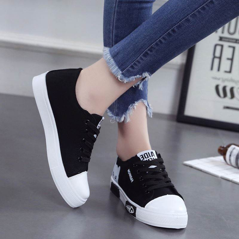 US $4.84 36% OFF|Casual Women Shoes Women Flats Canvas Shoes Fashion Women Sneakers Lace Up Cartoon Ladies Espadrilles Black White Female Shoes in