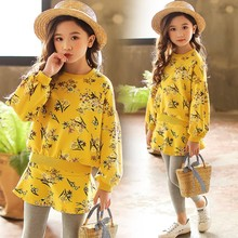 Girls Sets Clothing Fall Winter Korea Floral Girl Clothes Long Sleeve Hoodie Tops+skirt Pants 3 4 5 6 7 8 9 10 year Sport School все цены
